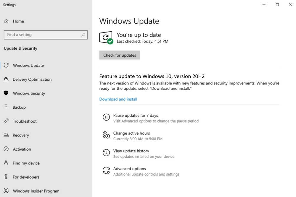 Upgrade to Windows 10 20H2