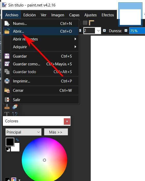 Paint file menu