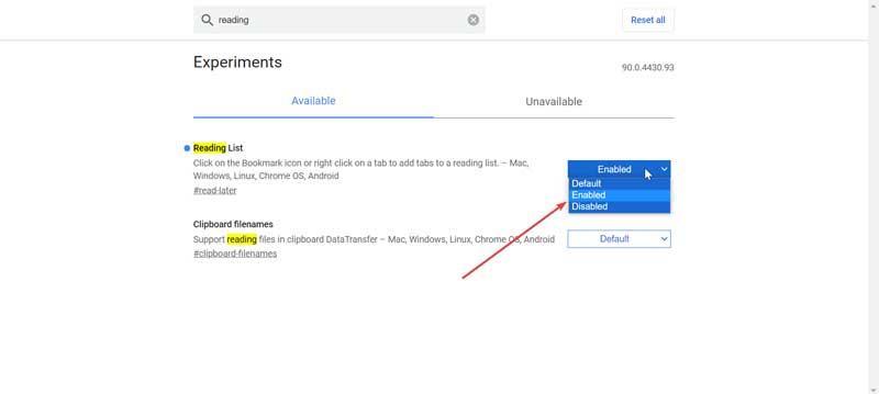 Chrome enable reading list