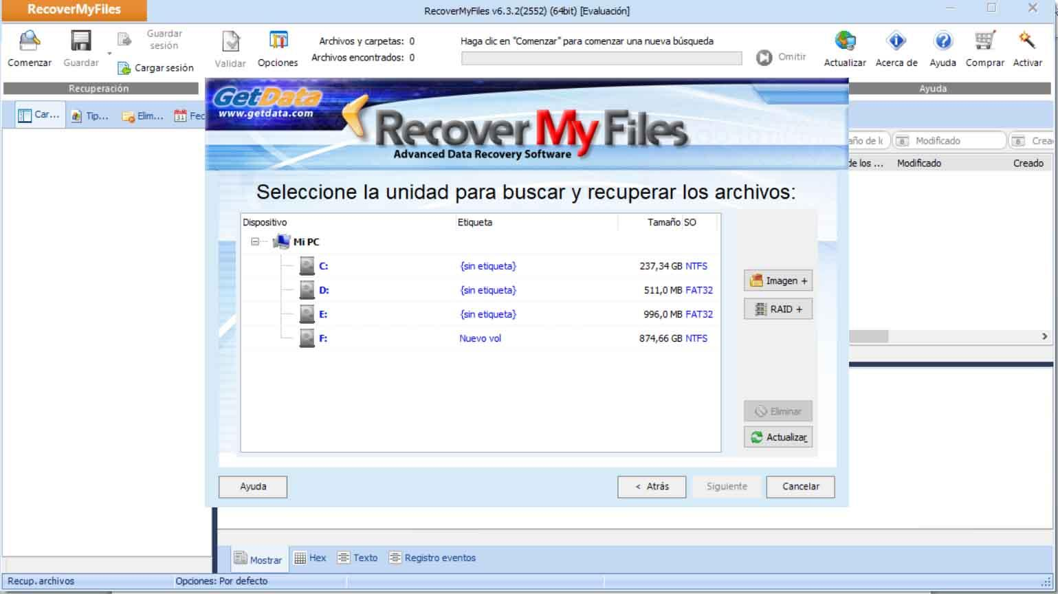 Choose drive to recover files in Windows
