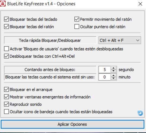 Bluetlife KeyFreeze interface