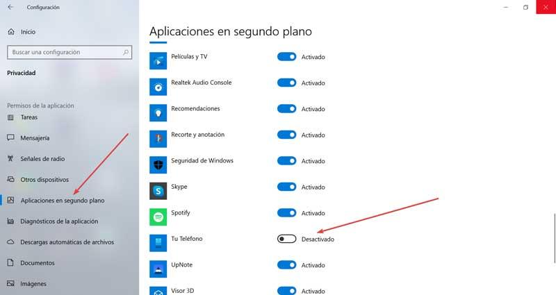 Settings and Background Apps