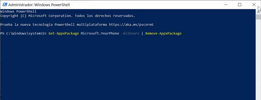 Delete YourPhone process from PowerShell
