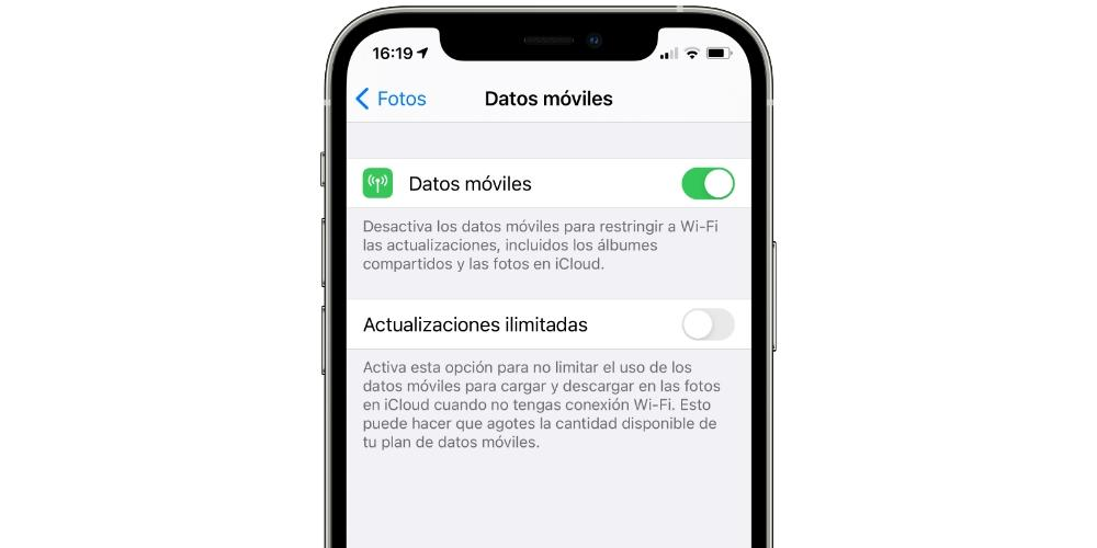 mobile data photos iphone