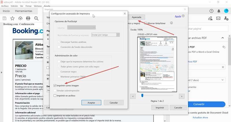 Adobe Reader print as image