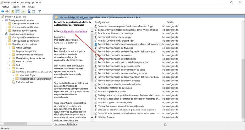 Policy settings for permissions in Edge