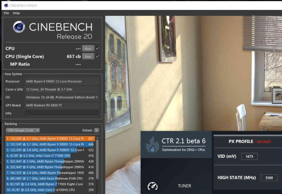 ClockTuner Ryzen Cinebench R20