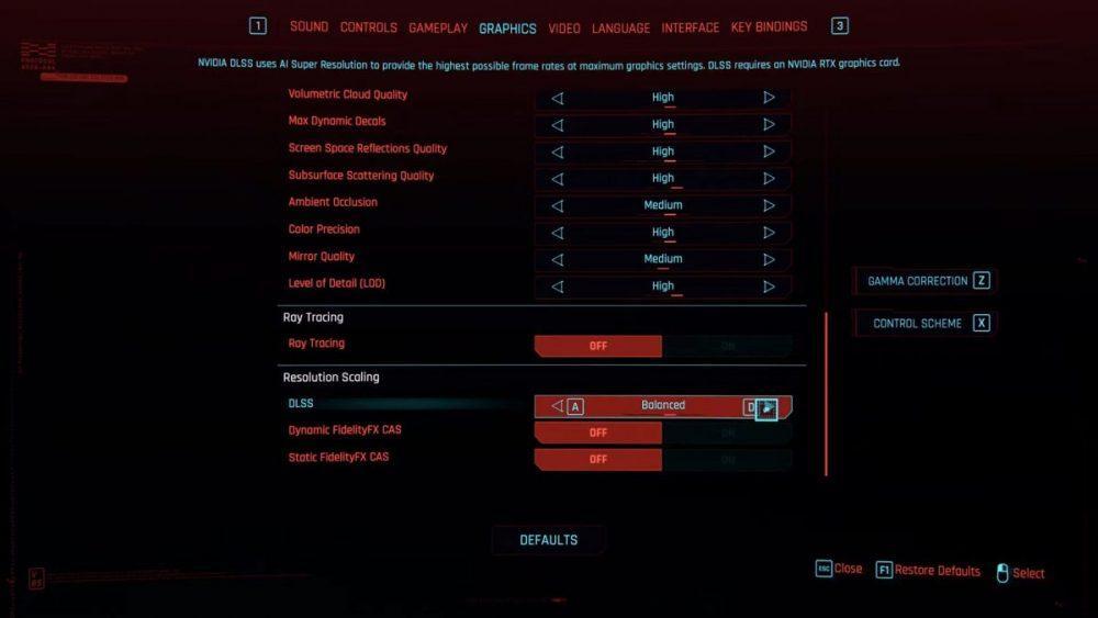 DLSS in Cyberpunk