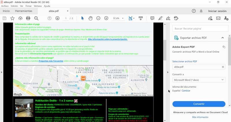 Adobe Reader green text on black