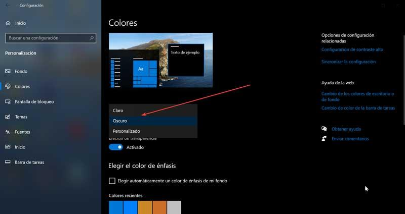 Set Dark color in Windows 10