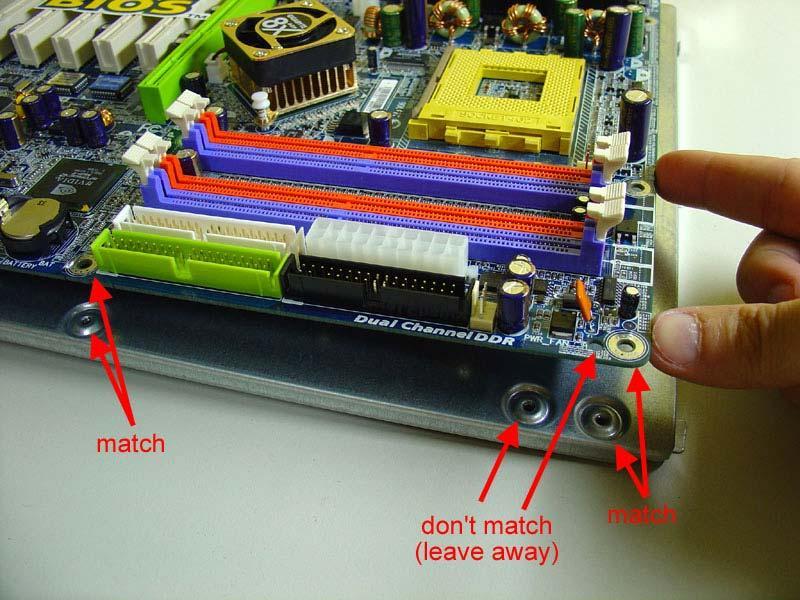 Standoffs motherboard mount PC
