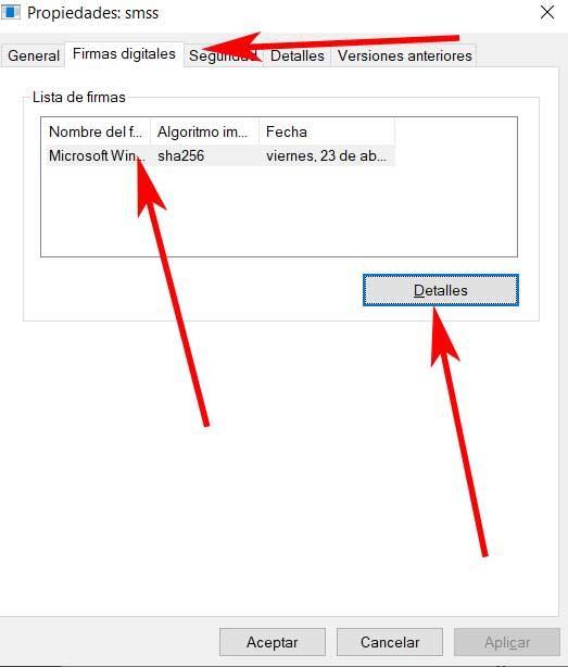 Details digital signature process smss.exe
