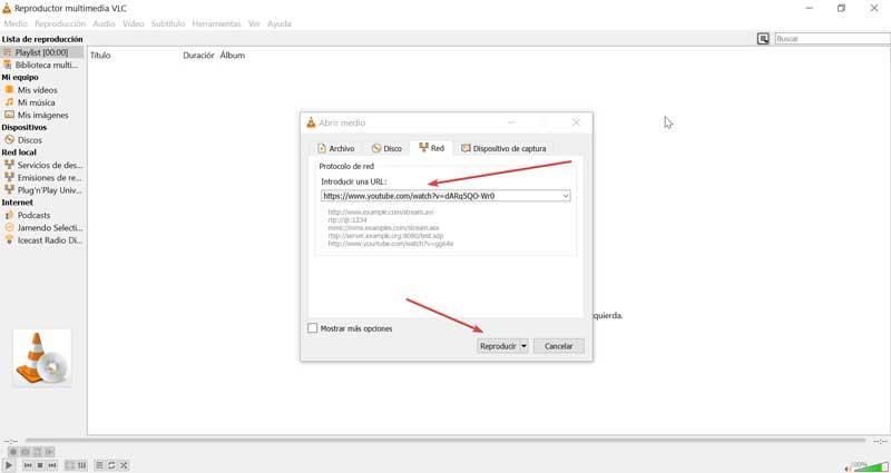 VLC Insert URL