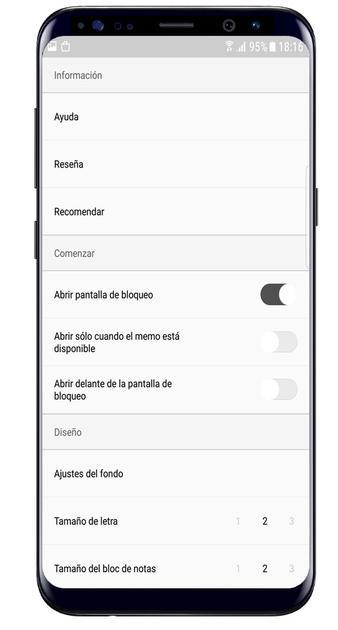 Memory Helper app settings