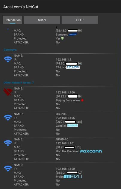 Android NetCut app options to protect WiFi