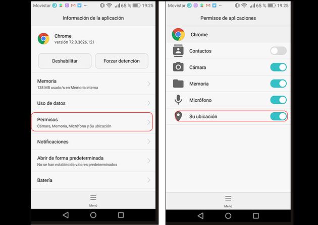 Screenshots of Chrome permissions