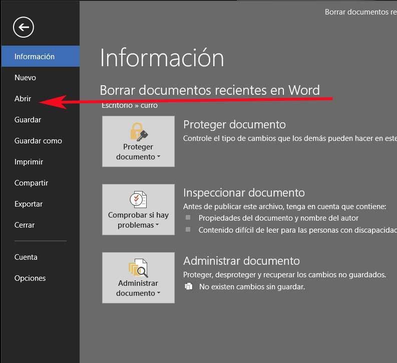 Word file menu