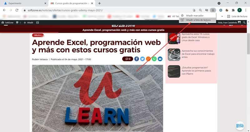 Add web to Chrome reading list
