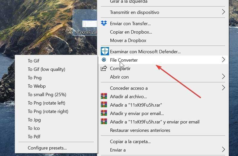 File Converter choose conversion format