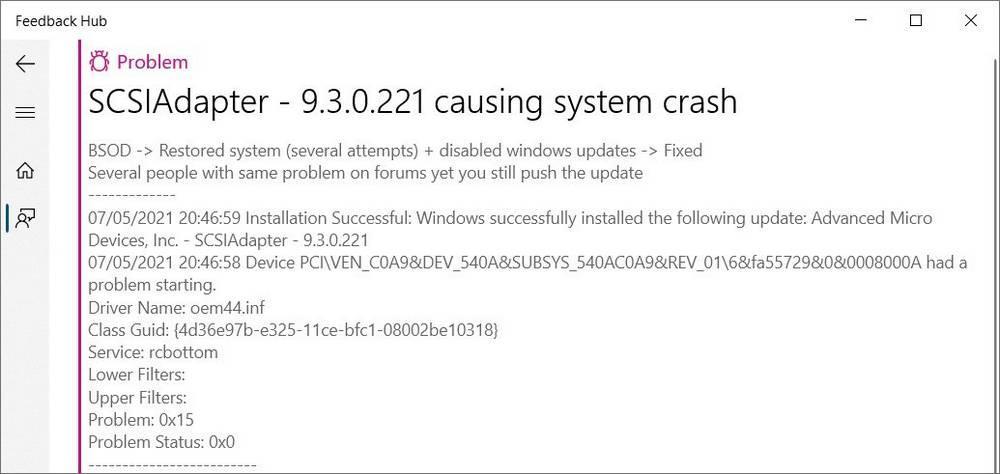 SCSIAdapter driver error - 9.3.0.221