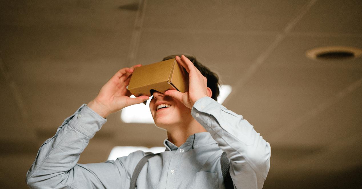 A boy enjoys a Virtual Reality experience with Google Cardboards