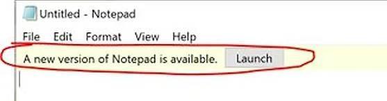 Windows Notepad update notice