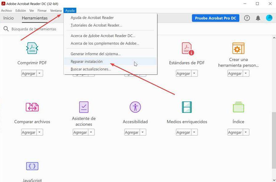 Adobe Reader repair installation