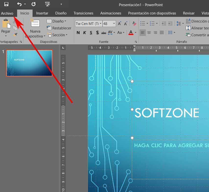 powerpoint file menu