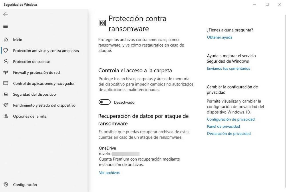 Windows Defender - Ransomware Protection