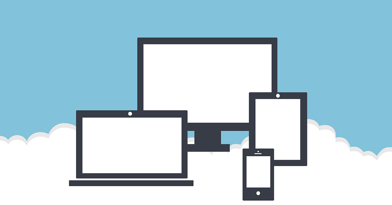 Illustration showing multiple devices on top of a cloud