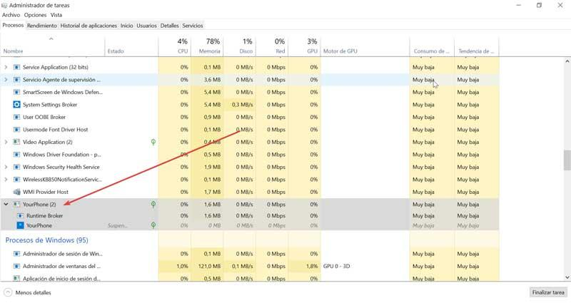 YourPhone process in Task Manager
