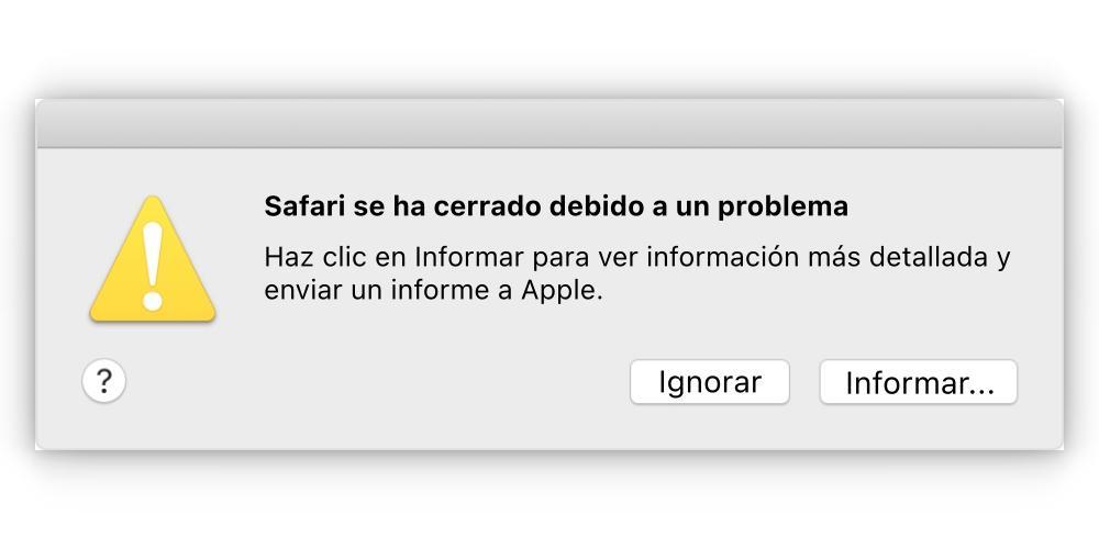 unexpected closure of safari on mac