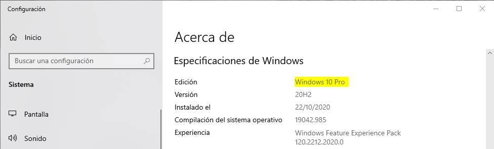 About Windows 10 Pro