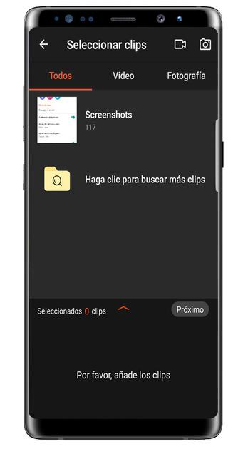 Video selection in the VideoShowLite app