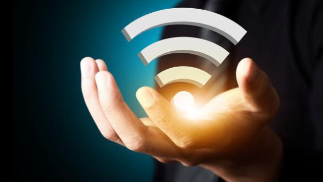 WiFi logo in a hand