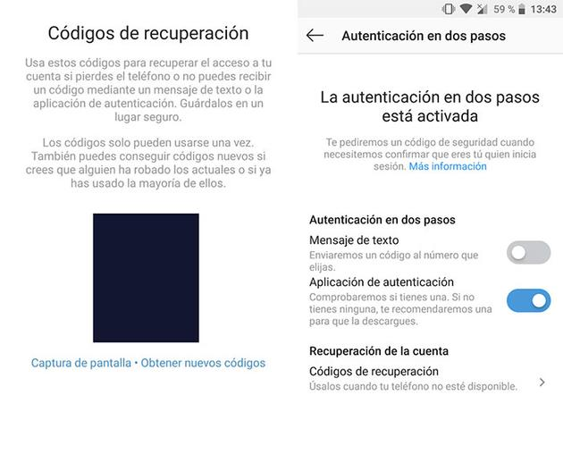 use Instagram two-step authentication