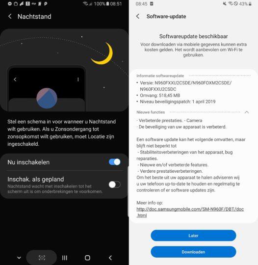 Samsung Galaxy Note 9 night mode update