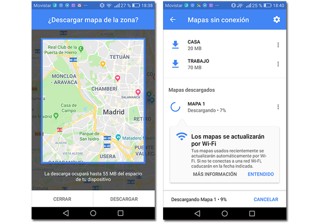 Example of how to download an offline map in google maps