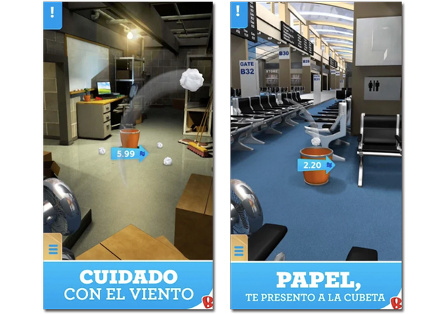 Sample screenshots of the Paper Toss game