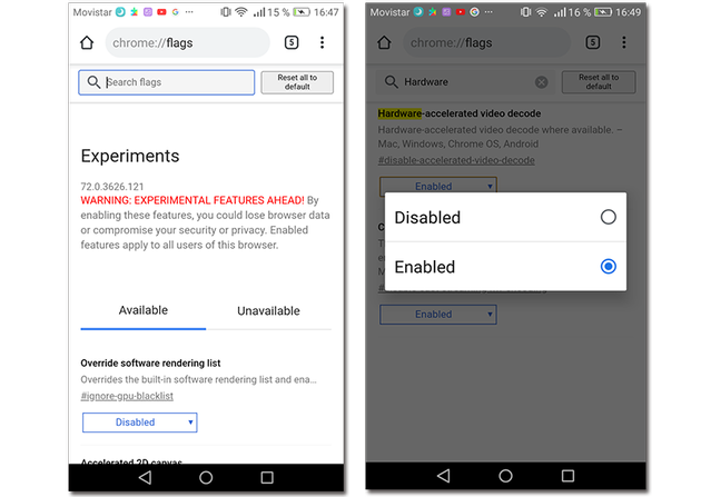 Screenshots of how to enable Hardware acceleration in Google Chrome