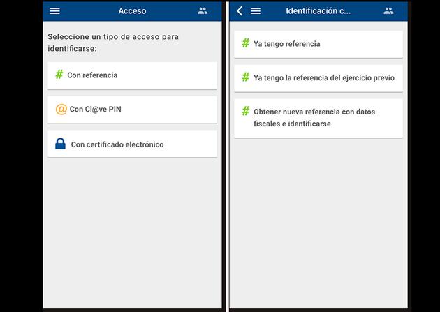 screenshots of the Tax Agency identification process