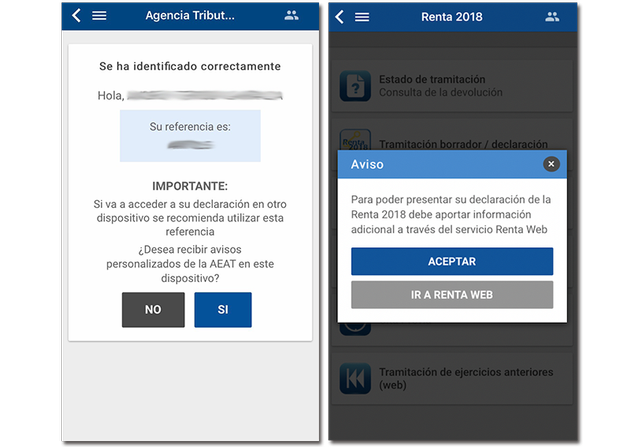 Screenshots of the Tax Agency identification process with the app