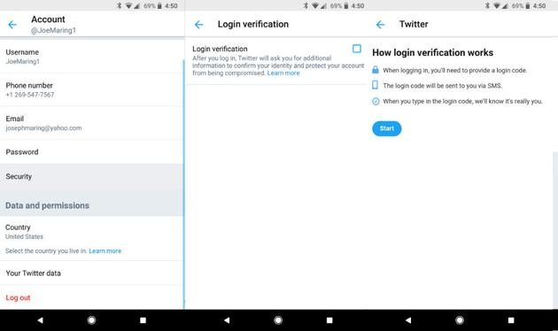 two step verification twitter for android