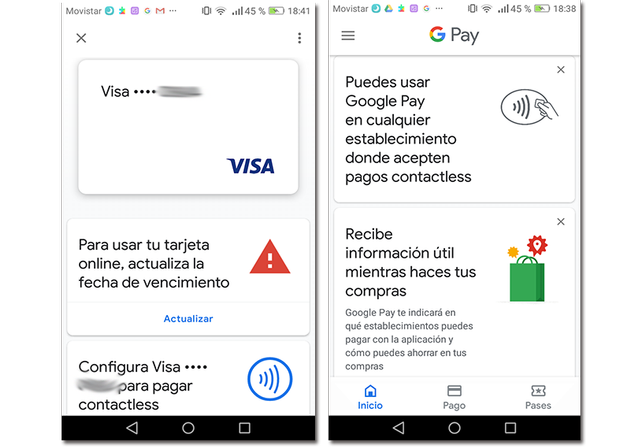 Screenshots of Google Pay