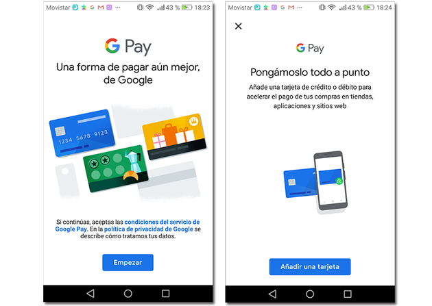 Screenshots of Google Pay introductory screens