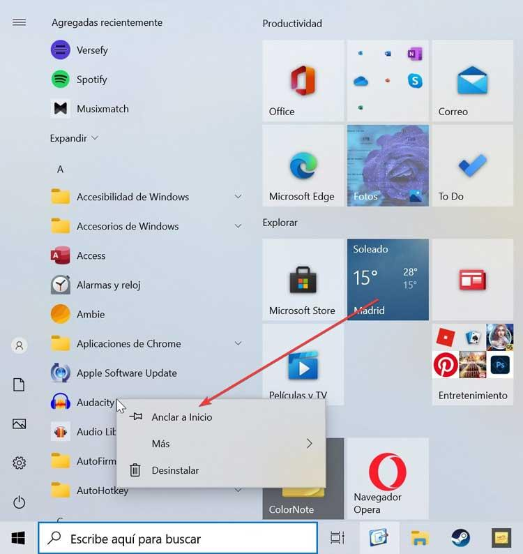 Pin program to Start menu