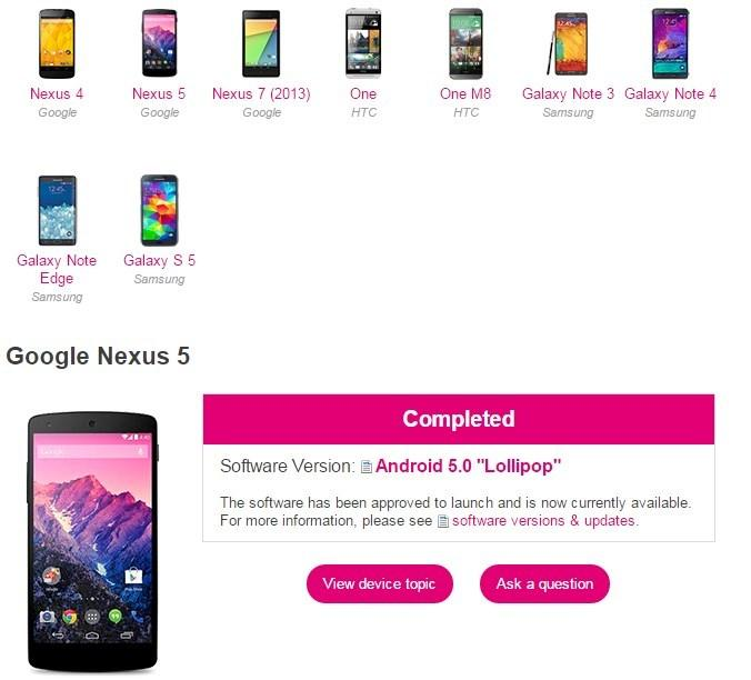 T-Mobile Android update website