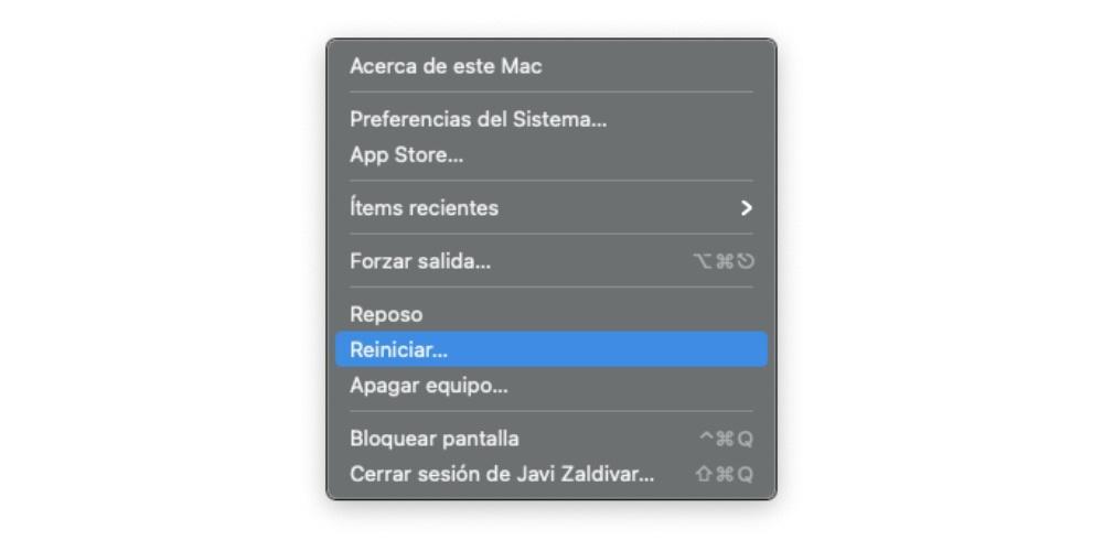 Restart the Mac