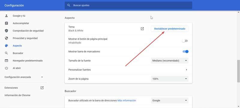 Chrome reset default
