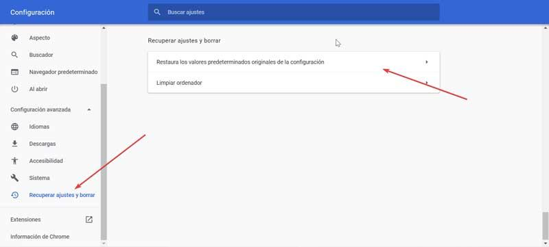 Chrome recover settings and delete